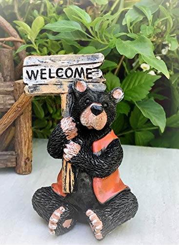 Dollhouse Figurine Mini Bear Fisherman w/Welcome Sign - Miniature Magic Scene Supplies Your Fairy Garden - Outdoor House Decor