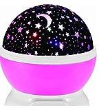 Romantic Rotating Star Moon Sky Rotation Night Projector Light Lamp-Pink.