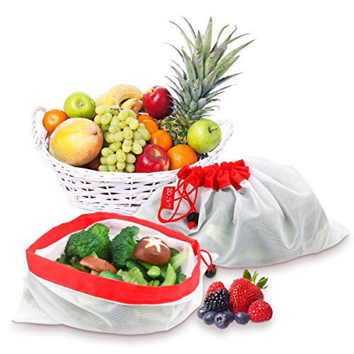 Reusable Produce Bags, VERONES Reusable Mesh Bags 16 Pack Washable Eco Friendly Bags with Tare Weight on Tags for Grocery Shopping Storage Like Fruit Vegetable and Toys by VERONES (Image #1)