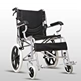 DR.MJ Wheelchair Lightweight Folding Portable Transport Chair with Bags Solid Tires Seatbelt H