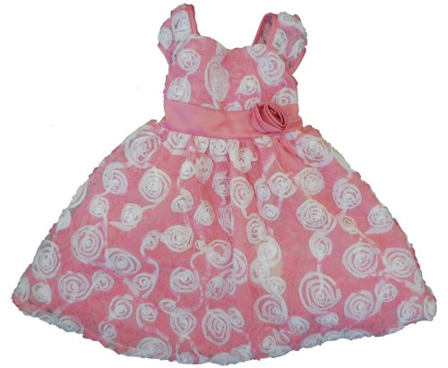 Rare Editions Little Girls' Pink and White Soutache Dress, 5
