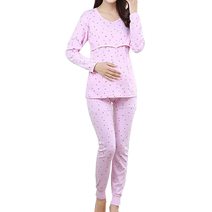 Pueri Pregnant Women Breastfeeding Pajamas Set Autumn Clothes and Pants Maternity Nightgown