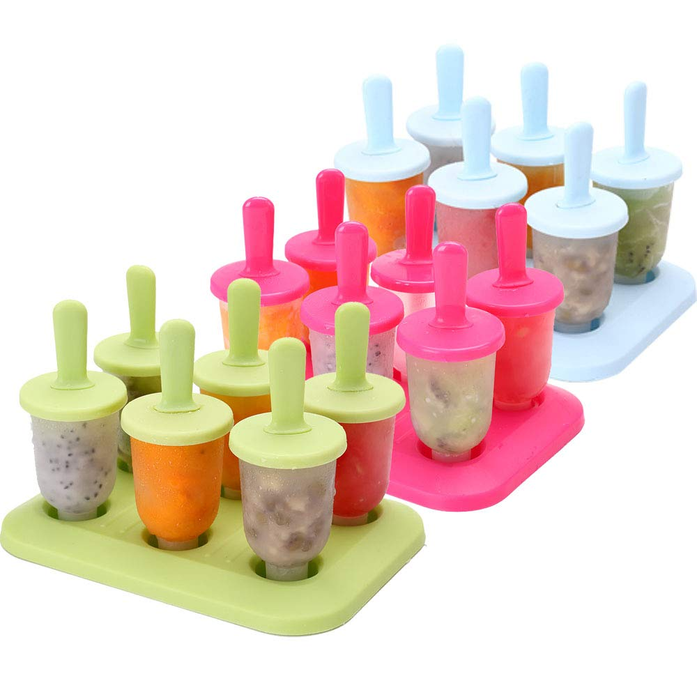 Whonline Ice Pop Mold, 3 Sets of 3-Color Mini Ice Pop Molds with Brush and Funnel