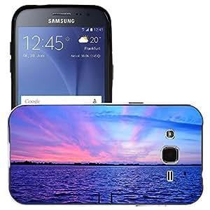Just Phone Cases Etui Housse Coque de Protection Cover Rigide pour // M00421752 Púrpura Anochecer Cielo Lago Rosa // Samsung Galaxy J2 J200 SM-J200F