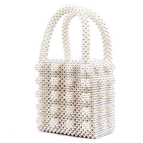SUKUTU Women Beaded Handbags Handmade Weave Crystal Pearl Tote Bags for Girls