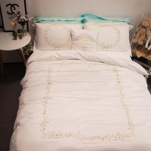 LELVAラグジュアリー刺繍ホテルエジプト品質デザイン布団カバーセット寝具綿100 %プレミアムコレクション5 Piece Queen Fitted Sheet Set MIKE-49 B073JD16H9