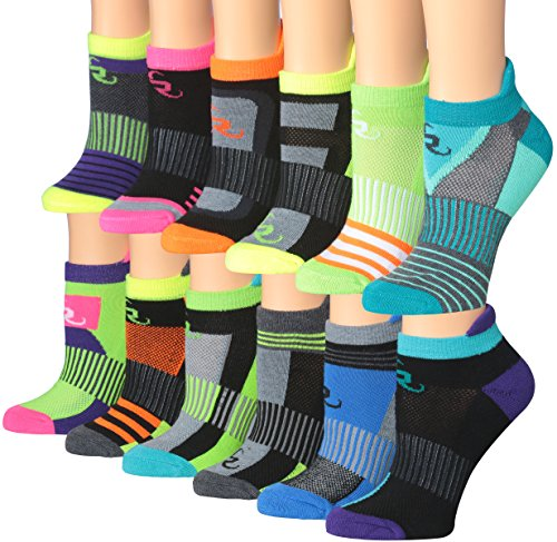 Ronnox Women's 12-Pairs Low Cut Running & Athletic Performance Tab Socks, RLT14-AB-ML