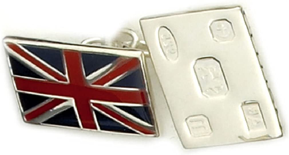 Sterling Silver Cufflink Union Jack Flag Feature Hallmark Personalised Engraved Box