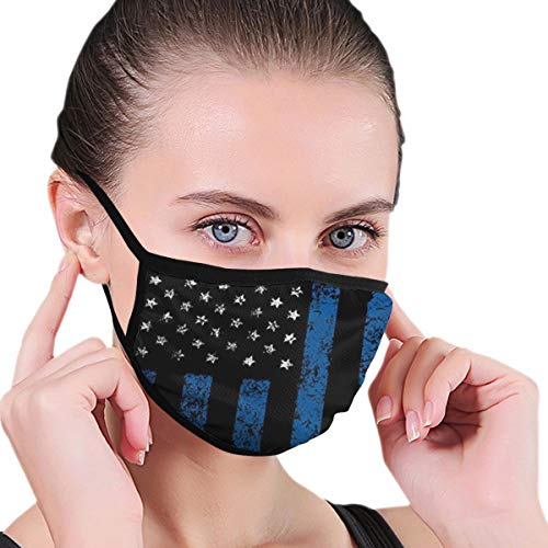 Face Masks Thin Blue Line American Police Flag Mouth Mask Reusable Face Dust Mask