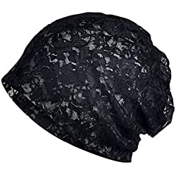 KINGREE Chemo Cap Turban Headwear Womens Soft Beanie Headwrap for Hairloss (Solid Color Lace-1343-5 Black)
