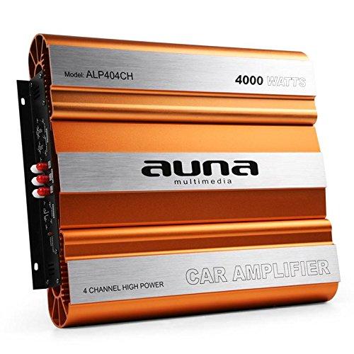 auna ALP404CH • Car HiFi Verstärker • 4-Kanal Auto-Endstufe • Car Amplifier • MOSFET • brückbar • 4/3/2-Kanal Betrieb • 4000 Watt max • Hoch- / Tiefpassfilter • Super Bass • Aluminium • orang