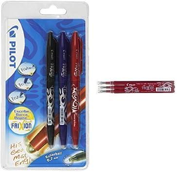 Pilot - Pack 3 unidades bolígrafo FriXion (negro, rojo, azul) + 3 ...