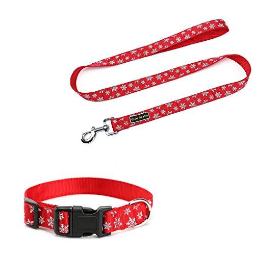 18' Nylon Collar - Christmas Dog Collar and Leash Lead Set- Christmas Tree Christmas snowflake Pet Collar with D Ring, Adjustable Nylon Collars for Dogs (S:(12''-18''), Red Snow)