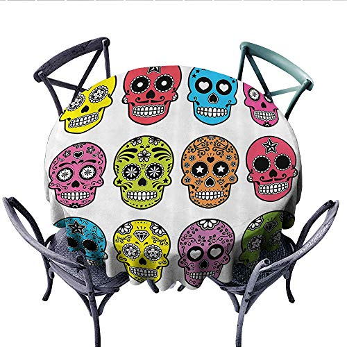 Skulls Decorations Collection Patterned Tablecloth Ornate Colorful Traditional Mexian Halloween Skull Icons Dead Humor Folk Art Print Waterproof Table Cover for Kitchen (Round, 70 Inch, Multi)