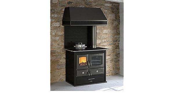 Cocina económica a leña con campana, color negro – Cocina de leña con puerta del fuego en hierro fundido, cristal cerámico del fuego, cámara de combustión ...