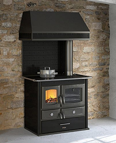 Dafnedesign.com - Stove wood with Black hood - Wood Stove with cast iron fire door, glass ceramic stove - 100% made in (Glass Door Fireplace Hood)