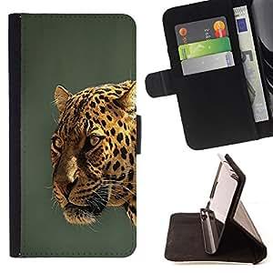 BullDog Case - FOR/Samsung Galaxy Note 3 III / - / leopard yellow teal grey feline big cat /- Monedero de cuero de la PU Llevar cubierta de la caja con el ID Credit Card Slots Flip funda de cuer