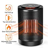 PTC Space Heater - Portable Ceramic Heater for Office Bedroom Kids Baby Large Room Garage Car RV Desk Area Mini Lab Camp Tent, Small Personal Radiant 1200W/600W Electric Heater Indoor With Adjustable Thermostat Oscillation Tip-Over & Overheat Protection