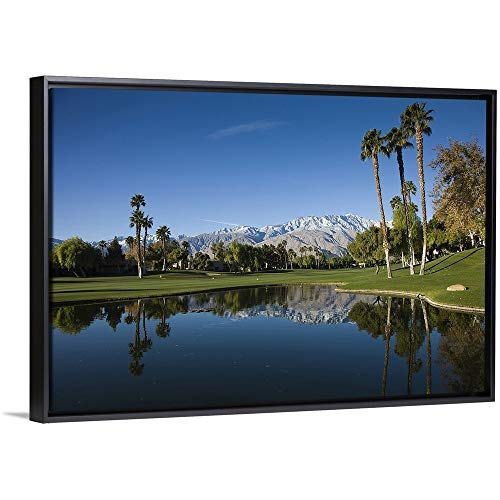 Floating Frame Premium Canvas with Black Frame Wall Art Print Entitled Desert Princess Country Club, Palm Springs, Riverside County, California ()