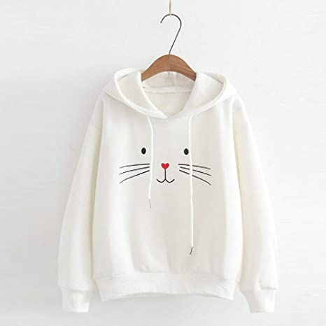 Amazon.com: Malbaba Autumn Crop Top, Women Autumn Long Sleeve Cat Printing Hooded Sweatshirt Blouse Tops T Shirt: Office Products