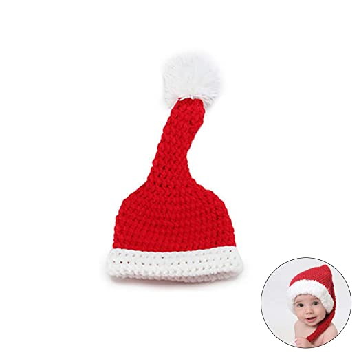122580267c023 Hilai 1PC Newborn Baby Christmas Costume Santa Knitted Crochet Photography  Prop Costume Outfits-Hat  Amazon.co.uk  Kitchen   Home
