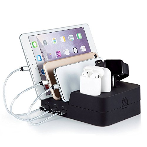 Watch and Cell Phone Airpods Charging Dock Holder, 6 Port Detachable Usb Desktop Quick Charge Station Organizer for Multiple Electronic Device Android, Apple, iwatch, iphone, ipad, Kindle Tablet