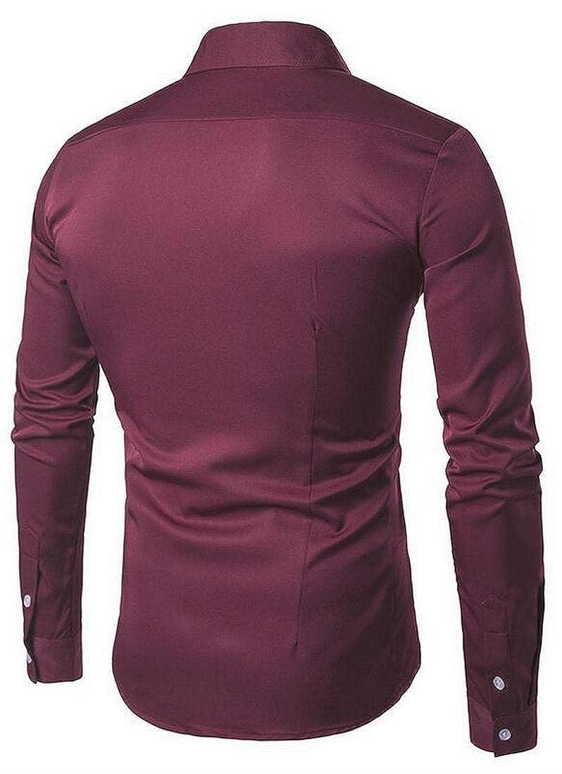ARTFFEL Mens Button Down Solid Casual Business Slim Fit Long Sleeve Dress Shirt