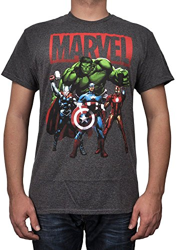 Marvel Avengers Shadows Charcoal Adult T-shirt (XL, Charcoal Heather)