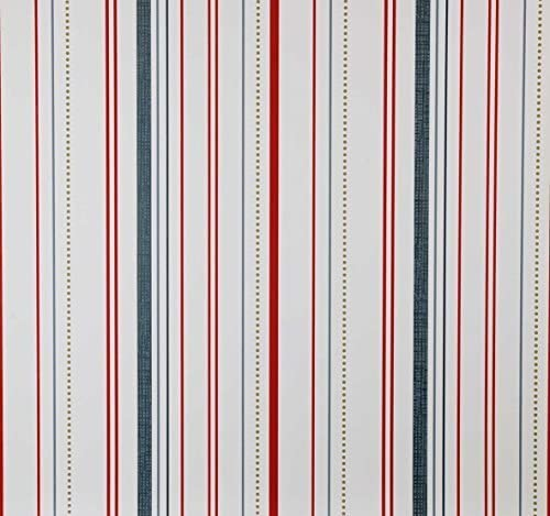 material Papel Pintado rayas azul de color rojo Fieltro portador 10,05/x 0,53/m