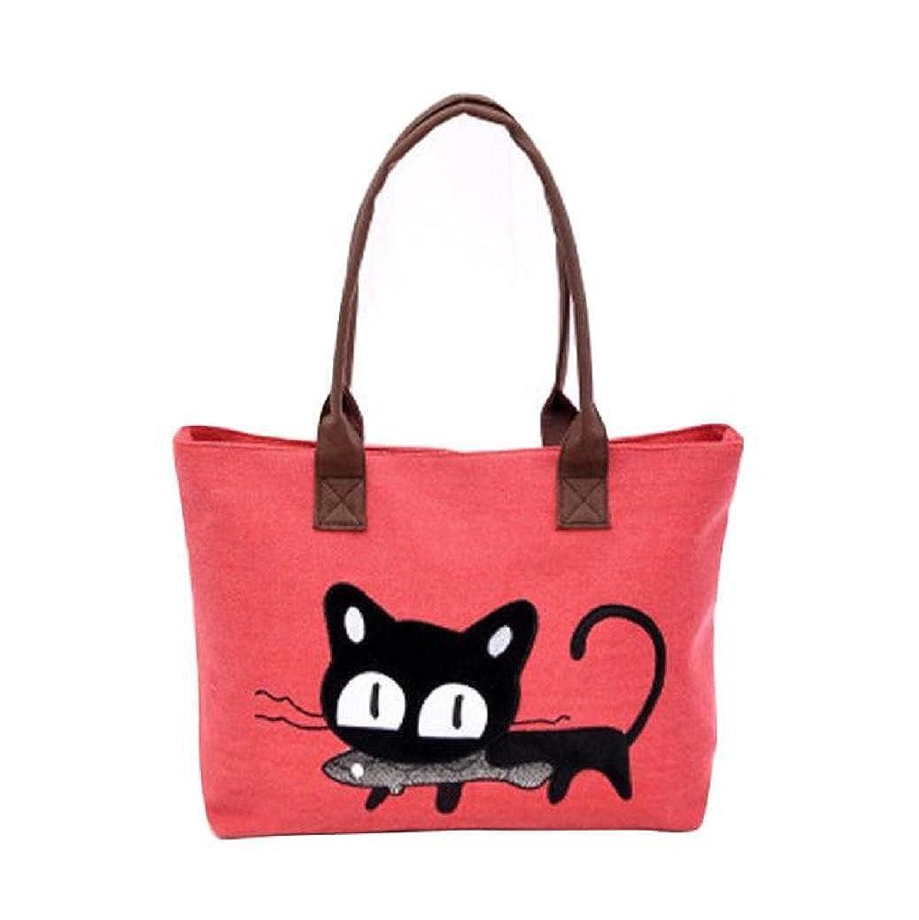 Fami Nouveau Mode Femmes Toile Chat mignon sac à bandoulière,Bureau Lunch Bag