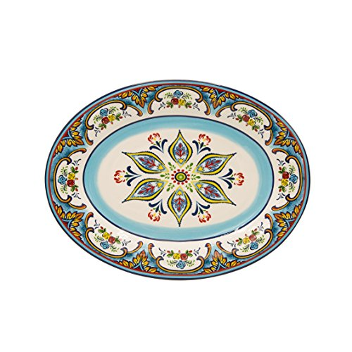"Euro Ceramica Zanzibar Collection Vibrant 18"" Ceramic Oval S"