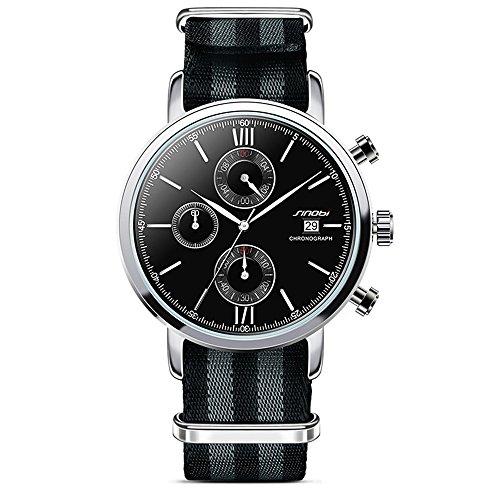 SINOBI Military Chronograph Nylon Strap Calendar Mens Watch Black