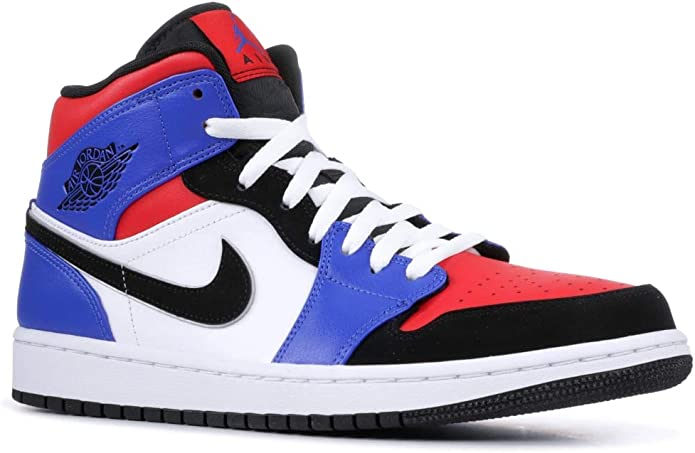 Nike Air Jordan 1 Mid Top 3 White Black Blue Red AJ1 I Sneakers Shoes 554724-124