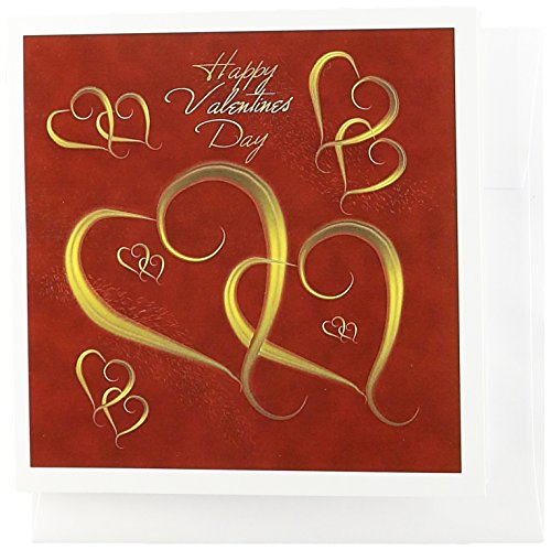 3dRose Golden Hearts entwined on a mottled red background with Happy Valentines Day - Greeting Cards, 6 x 6 inches, set of 12 (gc_37589_2)