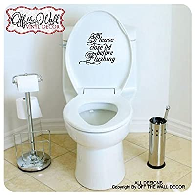 """Bathroom Toilet """"Please close lid before Flushing"""", Toilet Lid Decal Sticker #BL1"""
