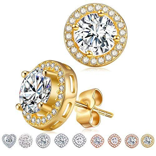 18K Gold Round Diamond Stud Earrings,Cat Eye Jewels S925 Sterling Silver AAA Halo Cubic Zircon Women Earring E014-G ()