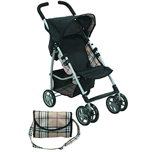Mommy & Me Doll Stroller Swiveling Wheels with Free Carriage Bag 9351A Beige...