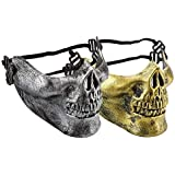 2 Pack Half Face Skeleton Mask Halloween, Hunting Game, Wargame Protect Gear, CS, Costume Party, Masquerade,Scary