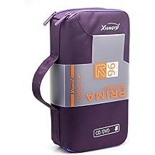 fatcolo new 96 Disc CD VCD DVD Blu-Ray Storage Bag Wallet Holder Case Box - Purple