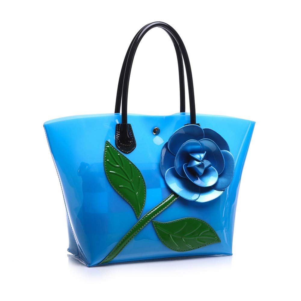 bluee Huasen Evening Bag Women Transparent Flora PVC Composite Female colorful Large Capacity Pudding Crystal Lady Tote Handbag Jelly Tote Party Handbag (color   Red)