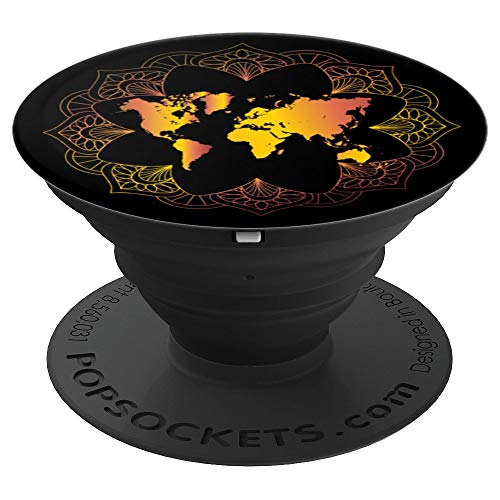 Mandala World Map for Travelers, Adventurer, Travel Gift - PopSockets Grip and Stand for Phones and Tablets