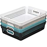 Really Good Stuff Plastic Desktop Paper Storage Baskets for Classroom or Home Use – Plastic Mesh Baskets in Neutral Colors –