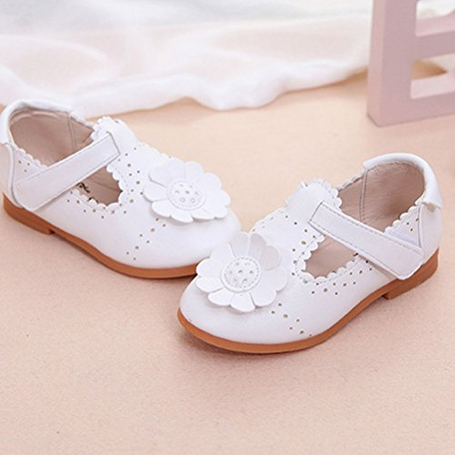 Zhhlinyuan Fashion Soft PU Leather Baby shoes Baby Flower Shoes Toddler Casual Shoes White