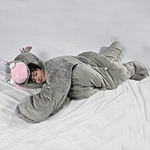 For children up to 60 inches tall. Giant SnooZzoo Hippo children's stuffed animal sleeping bag stands 66 inches tall. - 51FqUStDVzL - Snoozzoo – Hippo Sleeping Bag, Large