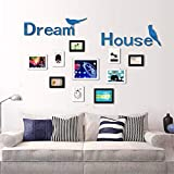 Personality Fashion Interior Mirror/Dream House Acrylic 3D Mirror Stereo Wall Sticker Living Room Sofa Photo Wall Bedroom Sticker,Blue
