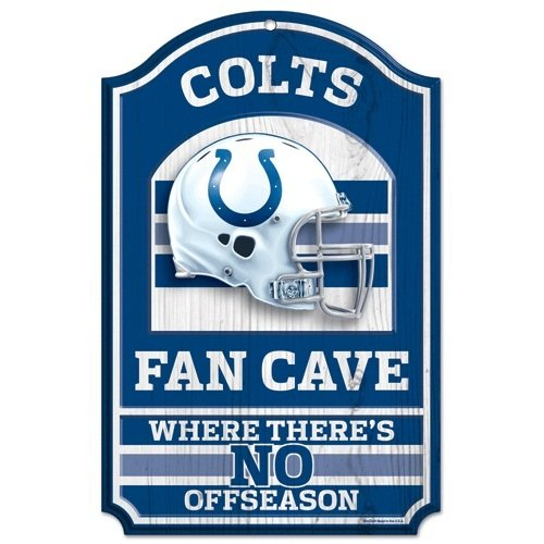 "NFL Indianapolis Colts Fan Cave Wood Sign, 11"" x 17"""