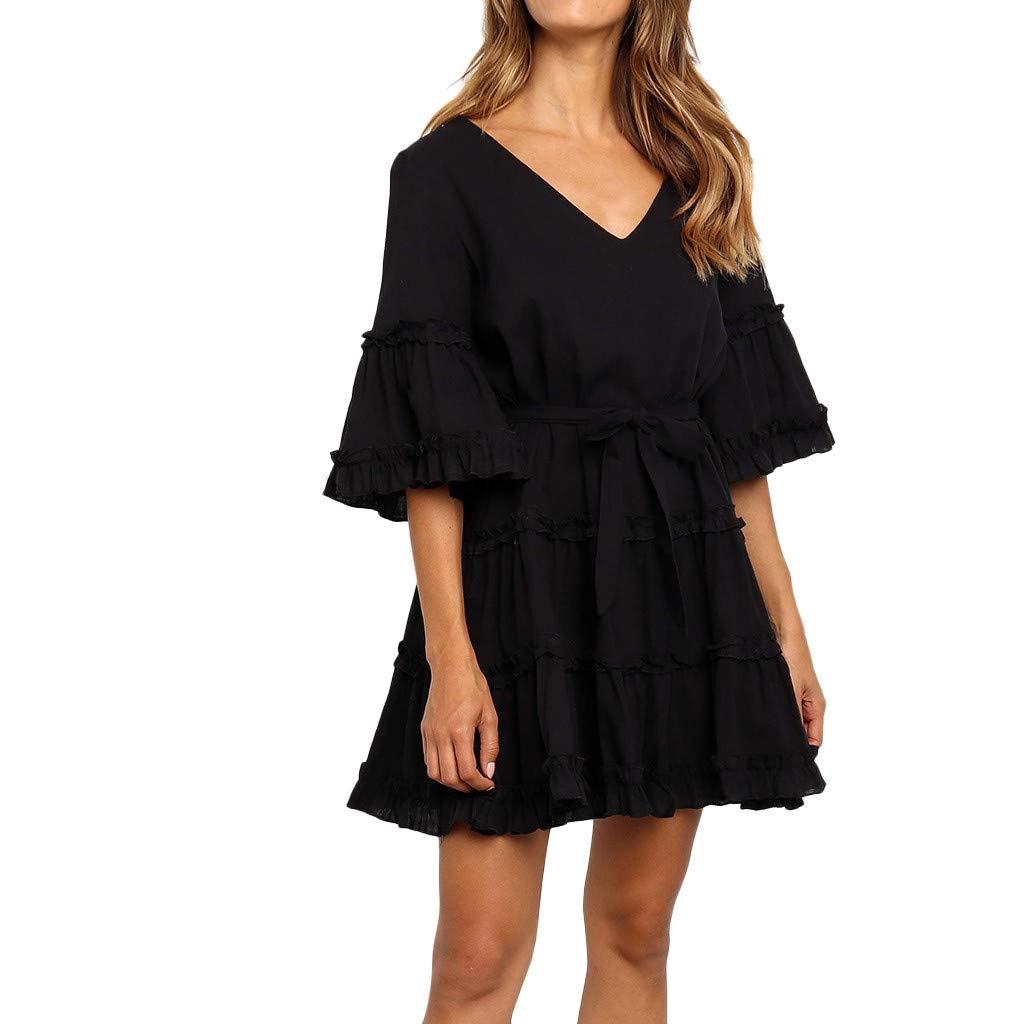 Rexinte Women's Soild Short Flare Sleeve Dresses Ruffles Flounce Hemline Dress Belted V-Neck Princess Dress(Black,XL