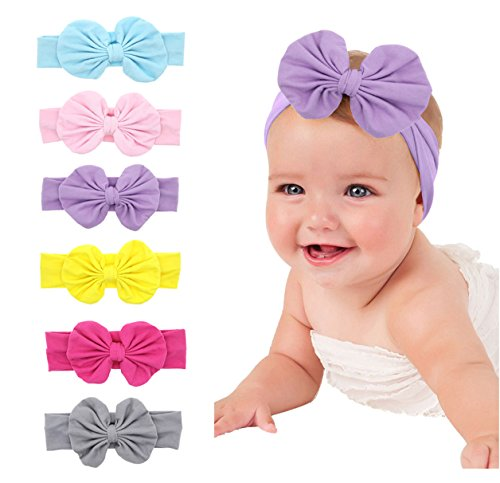 Baby Girl Headbands Multicolor Head Wrap Elastics 6pcs Hair Band Accessories with Big Bow - Clothing Stores Bh