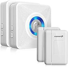 Fosmon WaveLink 51036HOMUS Wireless Door Open Chime (Operating Range - 120M/400FT | 52 Chime Tunes | 4 Volume Levels | LED Indicators) - 2 Magnetic Door Chime Sensor, 2 Plugin Receiver