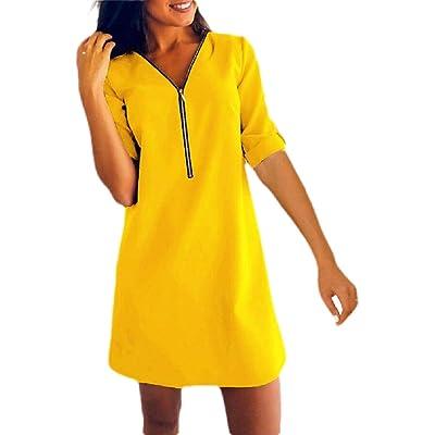 ChengZhong - Mini Vestido con Cuello en V para Mujer Amarillo Amarillo US X-Large: Ropa y accesorios
